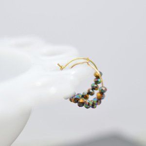 Gold Hoop Earrings with Amber Glass Luster Beads
